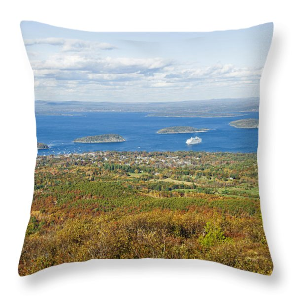 Acadia National Park In Autumn, Maine Throw Pillow by James Forte