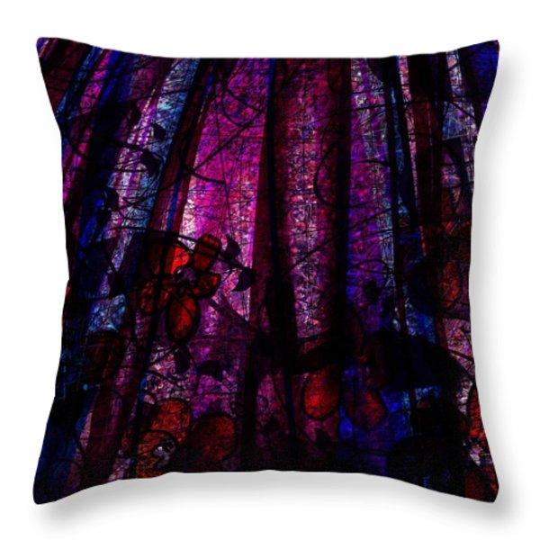Acid Rain With Red Flowers Throw Pillow by Rachel Christine Nowicki