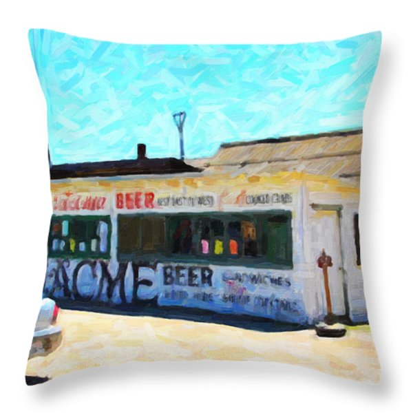 Acme Beer At The Old Lunch Shack At China Camp Throw Pillow by Wingsdomain Art and Photography