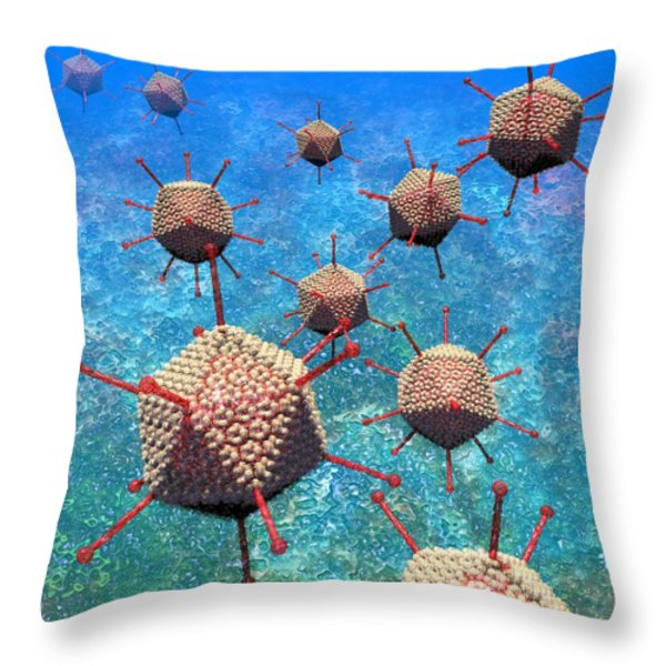 Adenovirus particles 3 Throw Pillow by Russell Kightley
