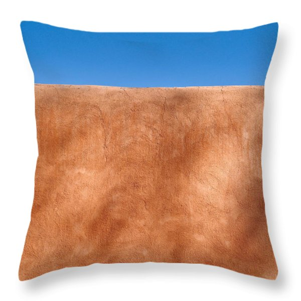 Adobe Wall Santa Fe Throw Pillow by Steve Gadomski