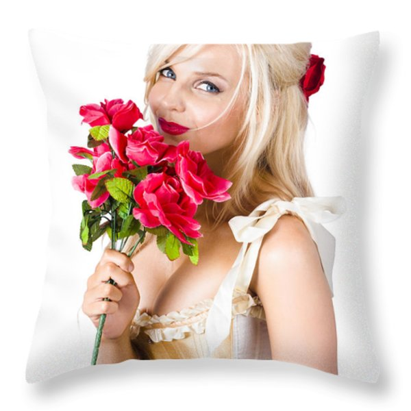 Adorable Florist Woman Smelling Red Flowers Throw Pillow by Ryan Jorgensen