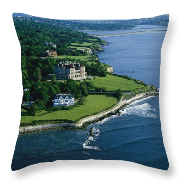 Aerial Of The Breakers, A Mansion Built Throw Pillow by Ira Block