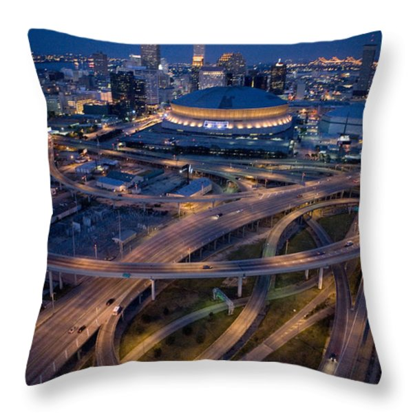 Aerial Of The Superdome In The Downtown Throw Pillow by Tyrone Turner