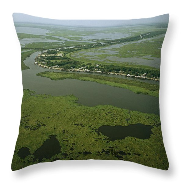 Aerial View Of Delacroix Island Throw Pillow by Medford Taylor
