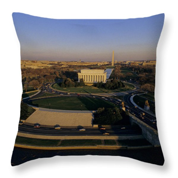 Aerial View Of Lincoln Memorial Throw Pillow by Kenneth Garrett