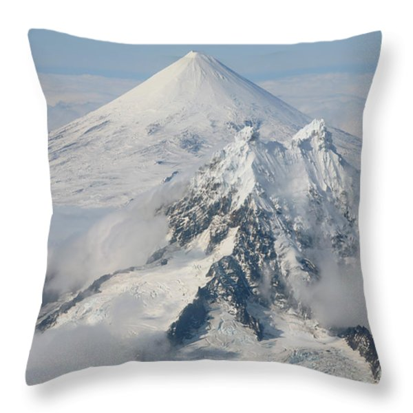 Aerial View Of Shishaldin Volcano Throw Pillow by Richard Roscoe