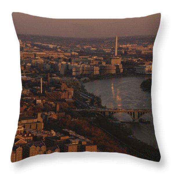 Aerial View Of Washington, D.c Throw Pillow by Kenneth Garrett