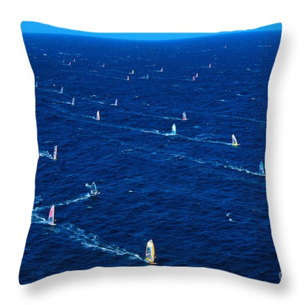 Aerial View Of Windsurfer Throw Pillow by Erik Aeder - Printscapes