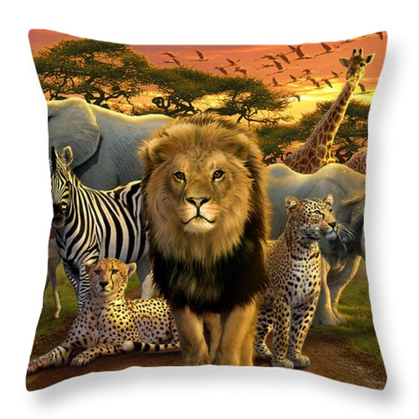 African Beasts Throw Pillow by Andrew Farley