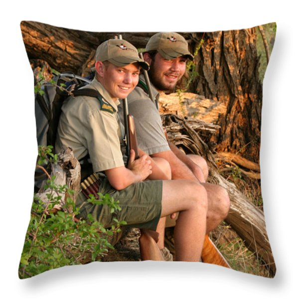 African Game Guides Throw Pillow by Joseph G Holland