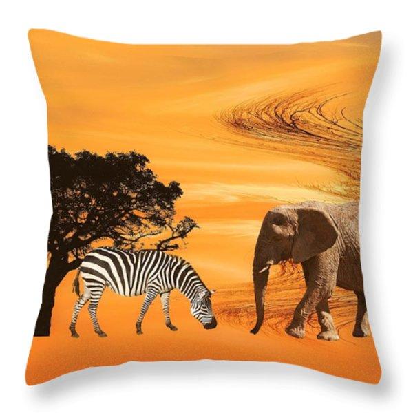 African Safari Throw Pillow by Sharon Lisa Clarke