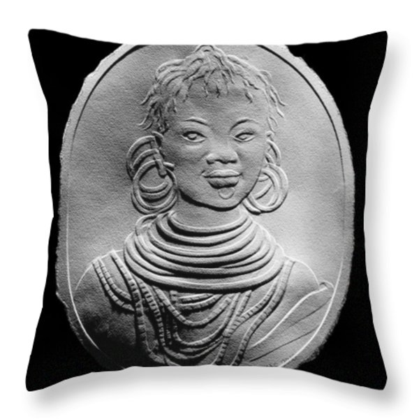 African Turkana Woman Throw Pillow by Suhas Tavkar