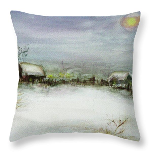 After A Heavy Fall Of Snow Throw Pillow by Xueling Zou