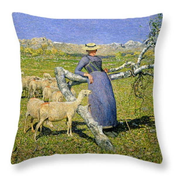 Afternoon In The Alps Throw Pillow by Giovanni Segantini