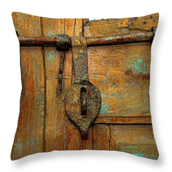 Aged Latch Throw Pillow by Christopher Holmes