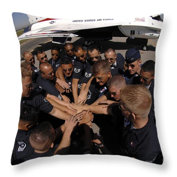 Air Force Thunderbird Maintainers Bring Throw Pillow by Stocktrek Images
