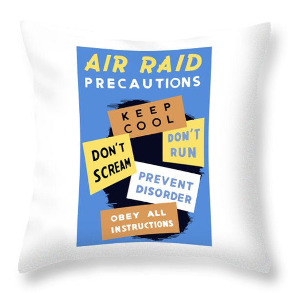 Air Raid Precautions Throw Pillow by War Is Hell Store