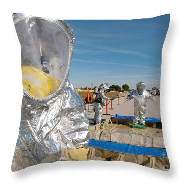 Airman Waits To Process Throw Pillow by Stocktrek Images