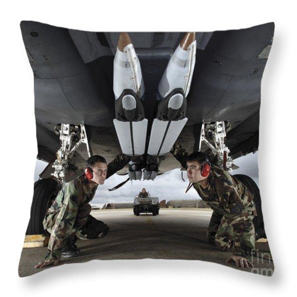 Airmen Check The Gbu-39 Small Diameter Throw Pillow by Stocktrek Images