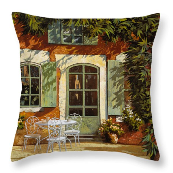 Al Fresco In Cortile Throw Pillow by Guido Borelli