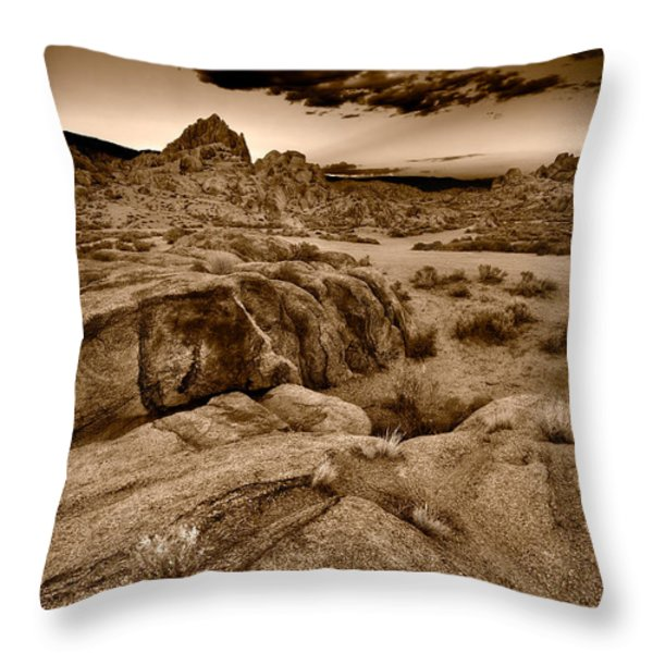 Alabama Hills California B W Throw Pillow by Steve Gadomski