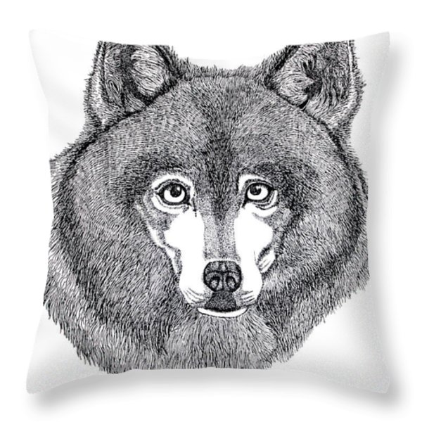 Alaskan Husky Throw Pillow by Nick Gustafson