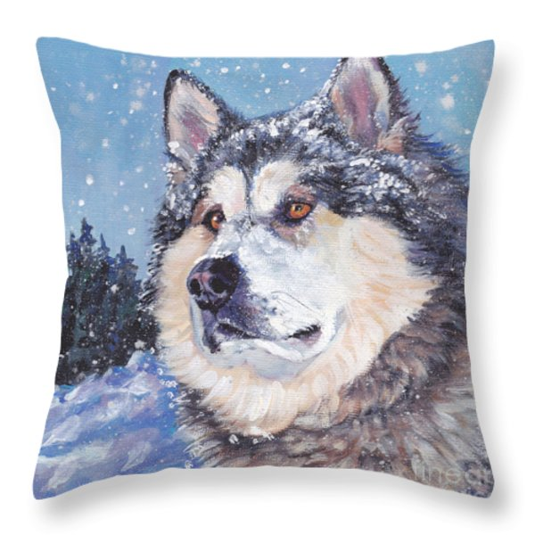 Alaskan Malamute Throw Pillow by Lee Ann Shepard