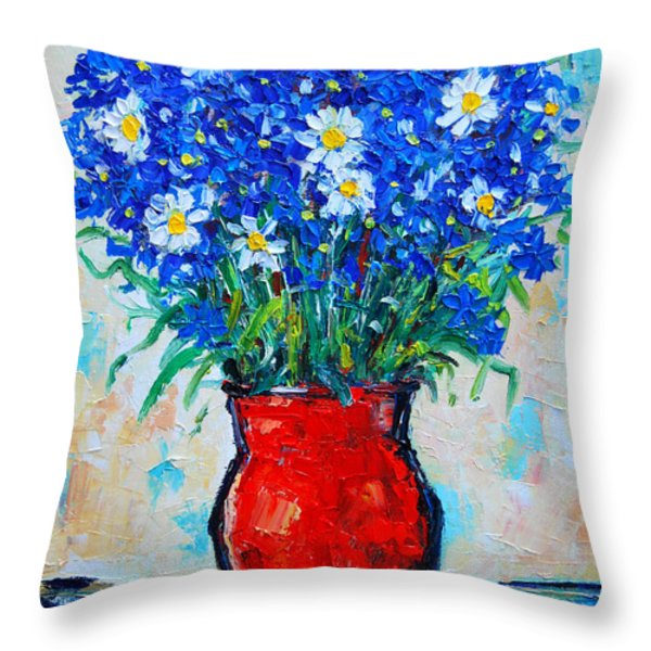Albastrele Blue Flowers And Daisies Throw Pillow by Ana Maria Edulescu