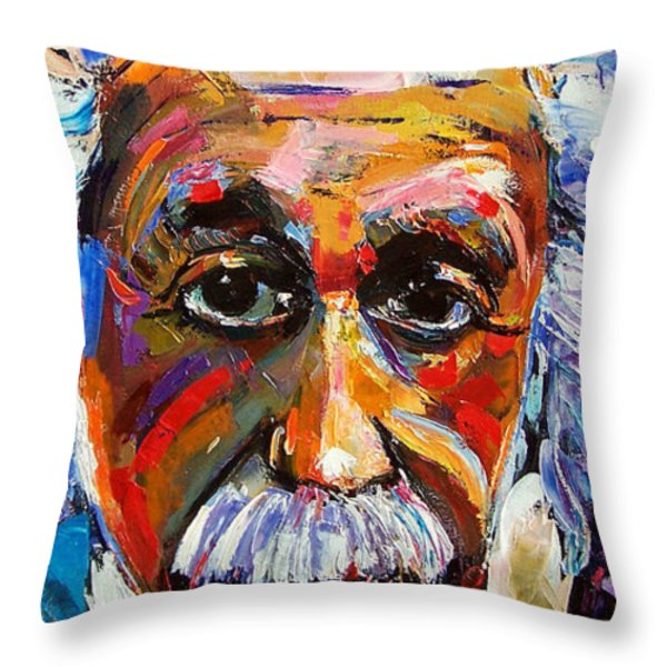 Albert Einstein Genius Throw Pillow by Debra Hurd
