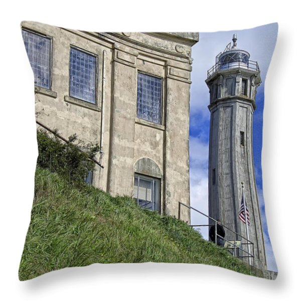Alcatraz Cell House And Lighthouse Throw Pillow by Daniel Hagerman