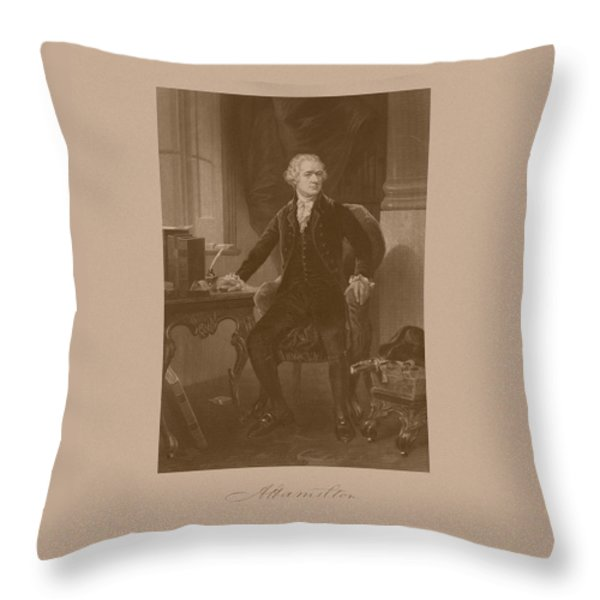 Alexander Hamilton Sitting At His Desk Throw Pillow by War Is Hell Store