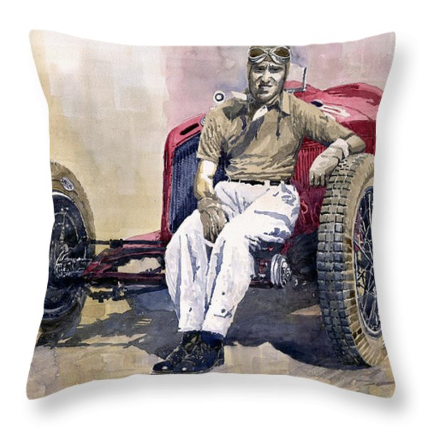 Alfa Romeo Monza Tazio Nuvolari 1932 Throw Pillow by Yuriy  Shevchuk