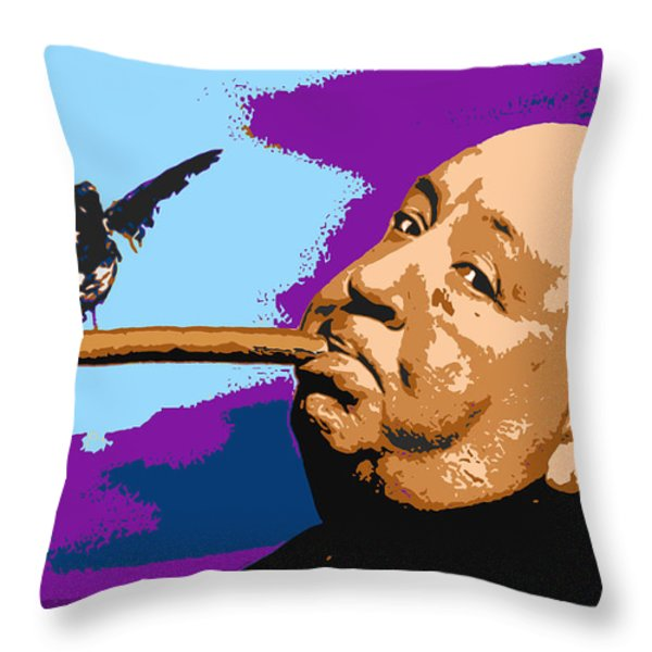 Alfred Hitchcock Throw Pillow by John Keaton