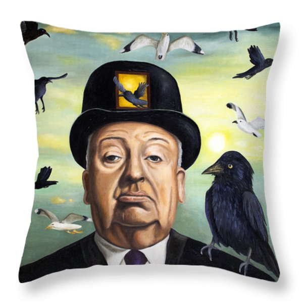 Alfred Hitchcock Throw Pillow by Leah Saulnier The Painting Maniac