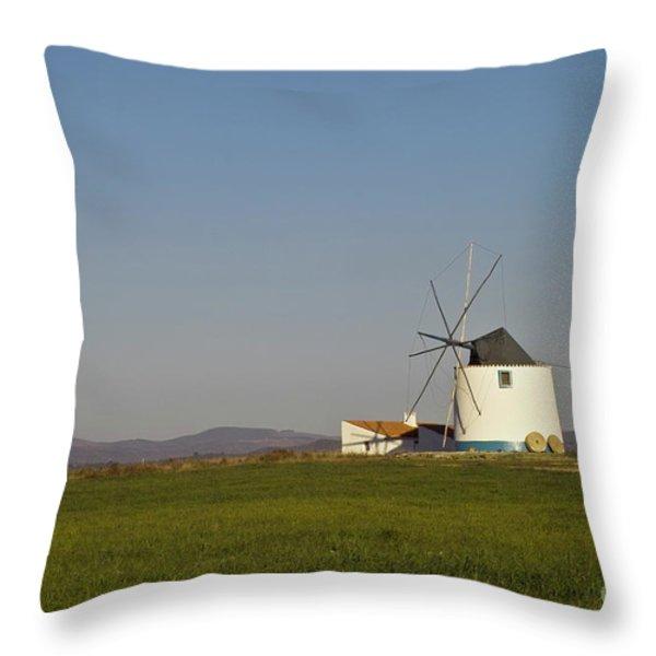 Algarve Windmill Throw Pillow by Heiko Koehrer-Wagner