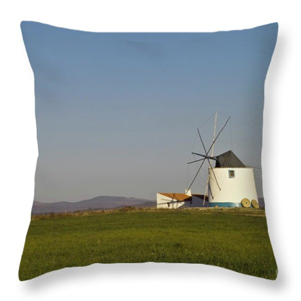 Algarve windmill Throw Pillow by Heiko Koehrer-Wagner