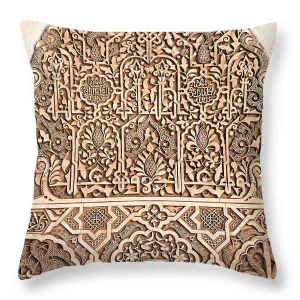 Alhambra wall panel detail Throw Pillow by Jane Rix