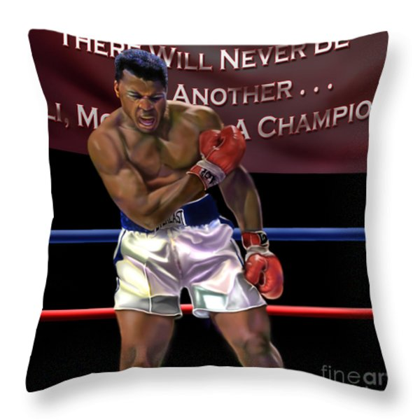 Ali - More Than A Champion Throw Pillow by Reggie Duffie
