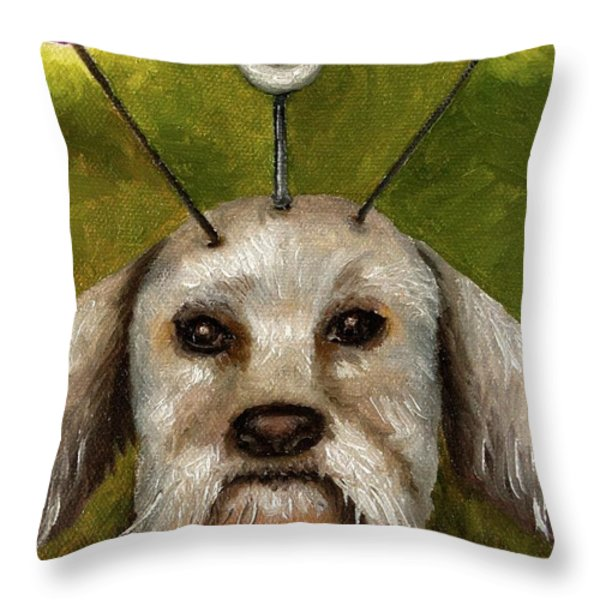 Alien Dog Throw Pillow by Leah Saulnier The Painting Maniac