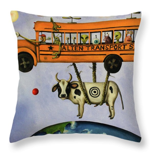 Alien Transport System Throw Pillow by Leah Saulnier The Painting Maniac