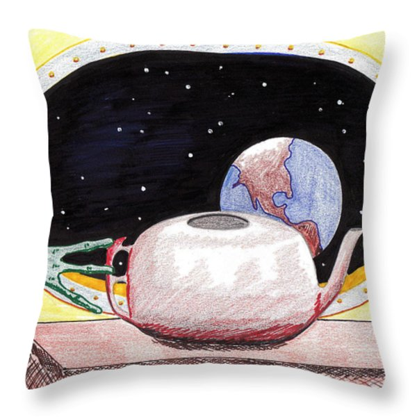 Aliens View Throw Pillow by Jose Valeriano
