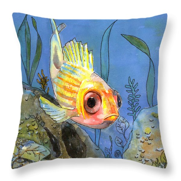All Alone - Squirrel Fish Throw Pillow by Arline Wagner