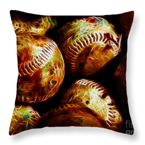 All American Pastime - A Pile of Fastballs - Electric Art Throw Pillow by Wingsdomain Art and Photography