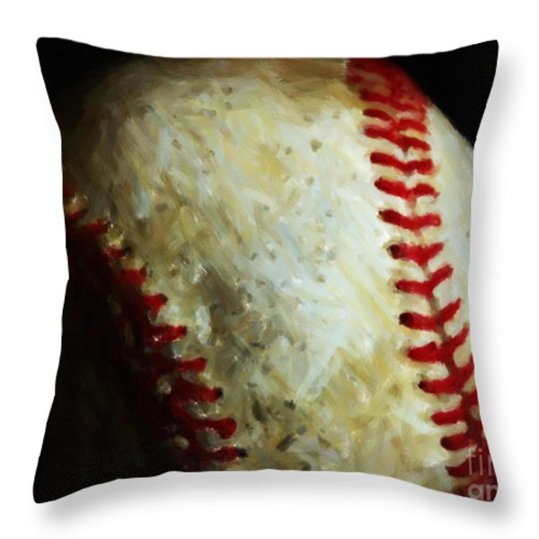 All American Pastime - Baseball - Painterly Throw Pillow by Wingsdomain Art and Photography