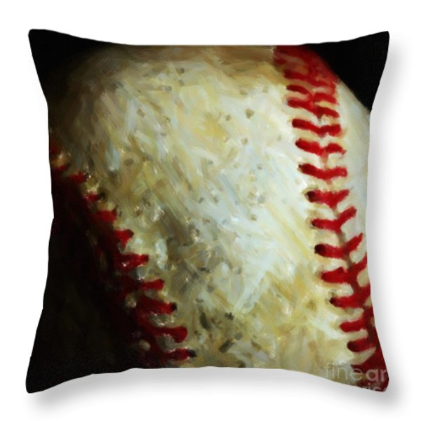 All American Pastime - Baseball - Square - Painterly Throw Pillow by Wingsdomain Art and Photography