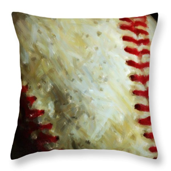 All American Pastime - Baseball - Vertical Cut - Painterly Throw Pillow by Wingsdomain Art and Photography