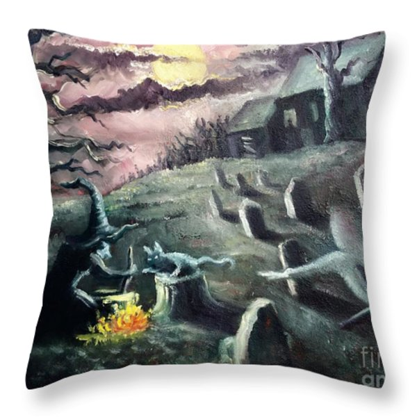 All Hallow's Eve Throw Pillow by Randy Burns