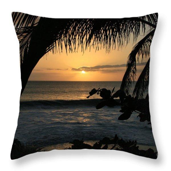 Aloha Aina the Beloved Land - Sunset Kamaole Beach Kihei Maui Hawaii Throw Pillow by Sharon Mau