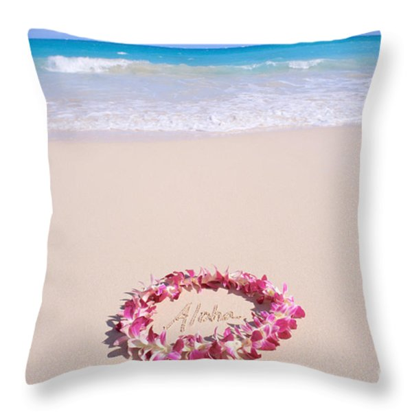 Aloha Throw Pillow by Mary Van de Ven - Printscapes